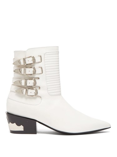 Buckled Leather Ankle Boots White