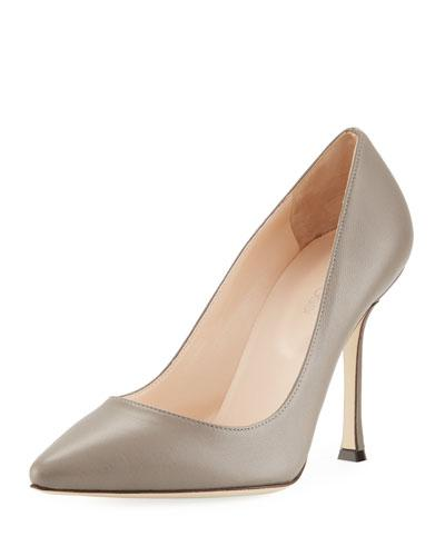 Sergio Rossi Secret Pointed Toe Leather Pump Gray d4hSY