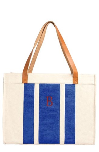 Cathy's Concepts Monogram Canvas Tote Blue Bw5dO1