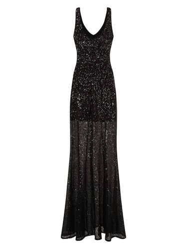 HotSquash V Neck Sequin Evening Dress Black HH5Y7RJS