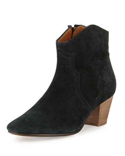 Isabel Marant Dicker Flat Ankle Boot Faded Black ABfZoeCC