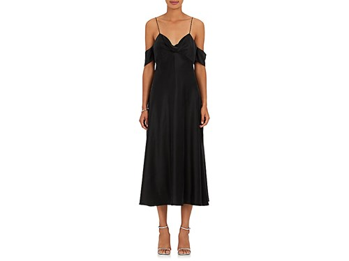 Zimmermann Women's Drape Silk Charmeuse Slip Midi Dress Black 1ybzKS