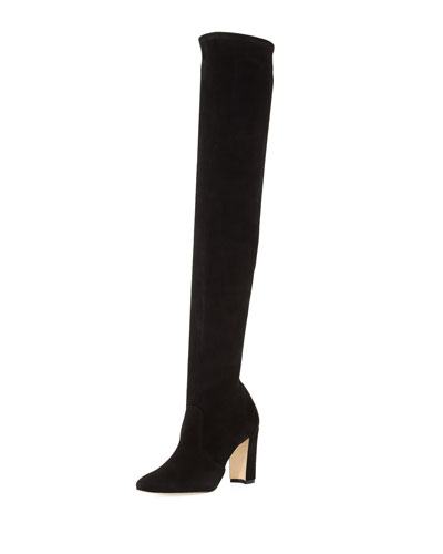 Manolo Blahnik Pascalla Over The Knee Suede Boot Black F35dKW