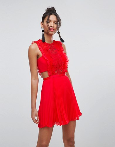 Asos Lace Pinafore Pleated Mini Dress Red 1qx5F
