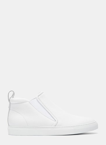 Aiezen High Top Slip On Grained Leather Sneakers White aDpy2q