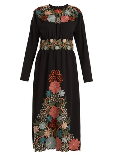 RED Valentino Long Sleeved Floral Embroidered Crepe Cady Dress Black Multi 9wQg6x