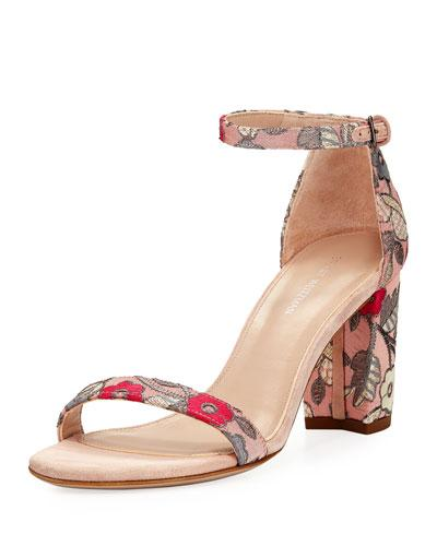 Stuart Weitzman Nearlynude Blossom Embroidered City Sandal Rose 8gsZj