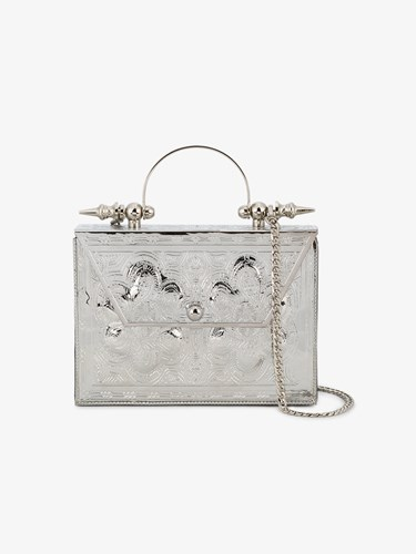 Okhtein Palmette Beaten Floral Pattern Clutch Metallic 6zMBan