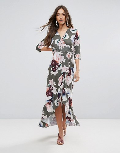 QED London Wrap Floral Maxi Dress With Ruffle Green Floral Print corTmacG