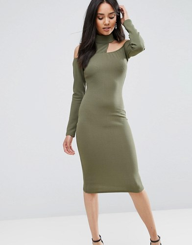 AX Paris Khaki Midi Bodycon Dress Khaki Green y3FHH0xWM