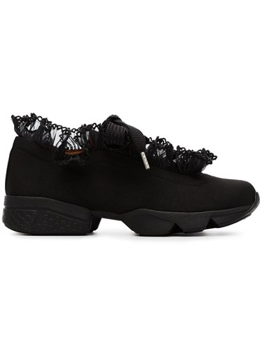 Ganni Harriet Trainers Cotton Leather Rubber Black SA8IWJeP