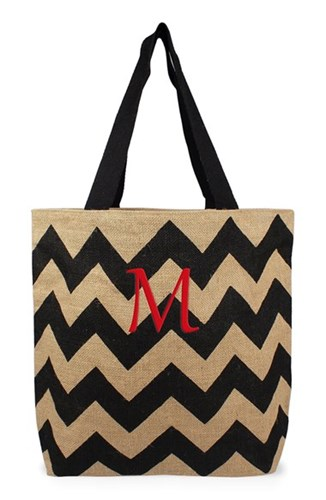 Cathy's Concepts Personalized Chevron Print Jute Tote Grey Black Natural M mIoZD