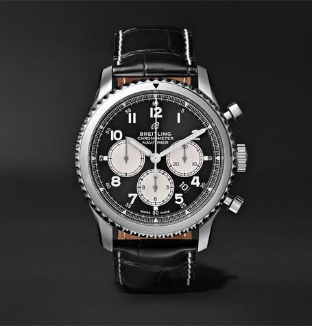 Navitimer 8 B01 Chronograph 43Mm Stainless Steel And Alligator Watch Black
