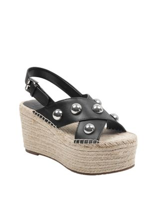 Marc Fisher Rella Leather Wedge Espadrille Brown ARHiMVO