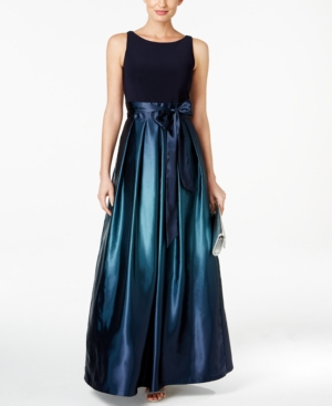 Teal Si Sl Sash Gown Navy Bow Satin Ombre Fashions 88RqU1