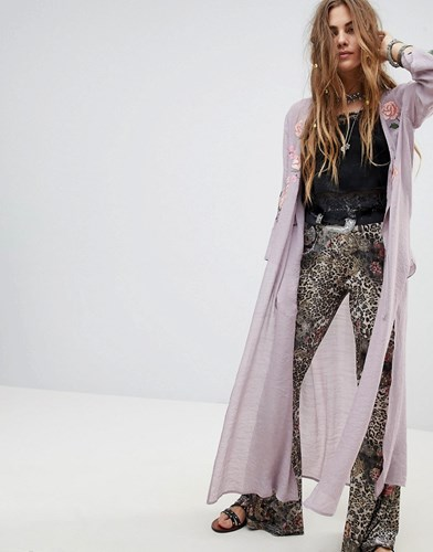 En Cr me Creme Maxi Kimono With Delicate Floral Embroidery Purple 1iF1N