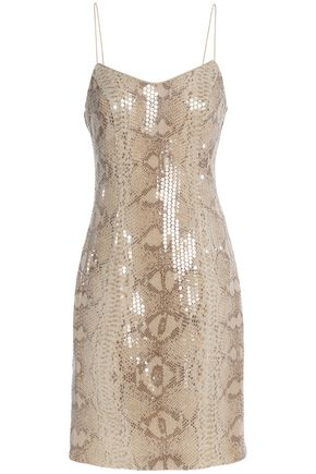 Mikael Aghal Sequined Snake Print Crepe Mini Dress Beige Kw41KMLUe