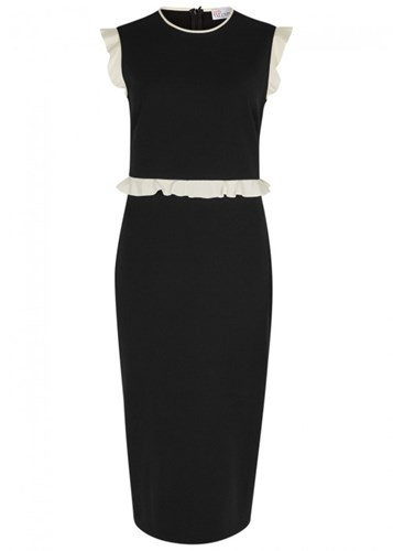 RED Valentino Black Ruffle Trimmed Dress Black And White uxThV