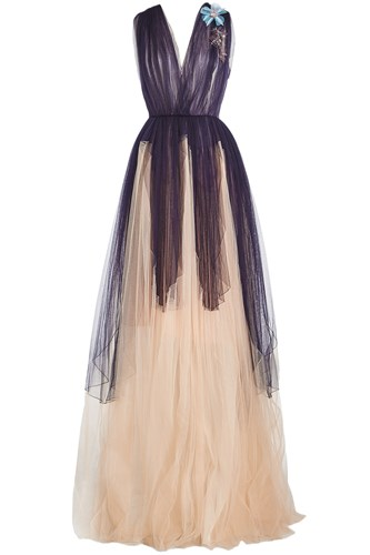 Gown Delpozo Tulle Multicolored Length Floor wqnxp8gf