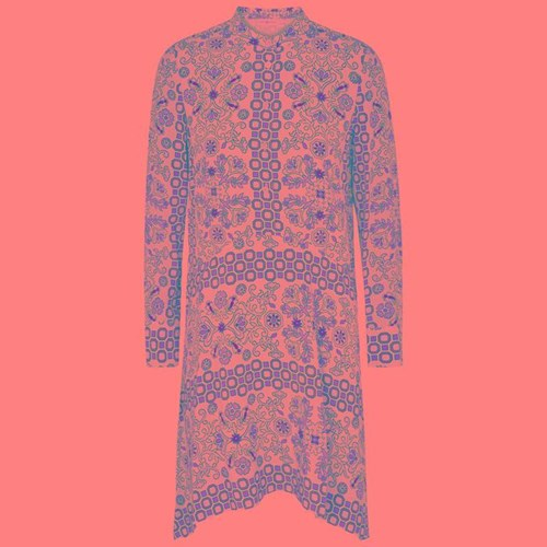 Tory Burch Celeste Printed Silk Dress Light Pink ZVFyed