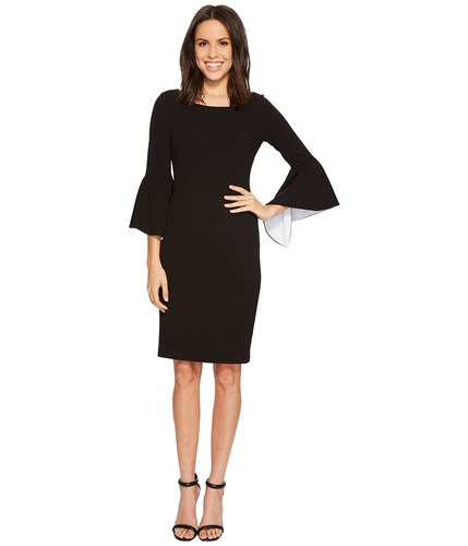 Klein Calvin Women's White Lining Sleeve Contrast Ruffle In Cd8c14gy Bell Sheath Black Sleeve Dress With dCqCOrSx