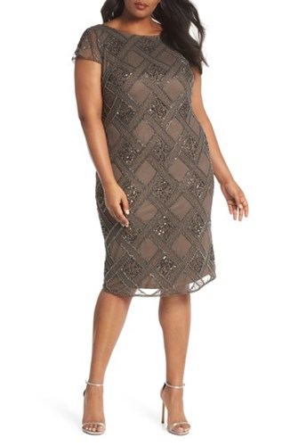 Adrianna Papell Plus Size Women's Beaded Cap Sleeve Sheath Dress Lead rE2l9p