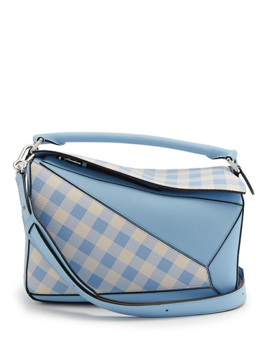 Leather Loewe Gingham Blue Bag Light Print Puzzle qx6FwtZT