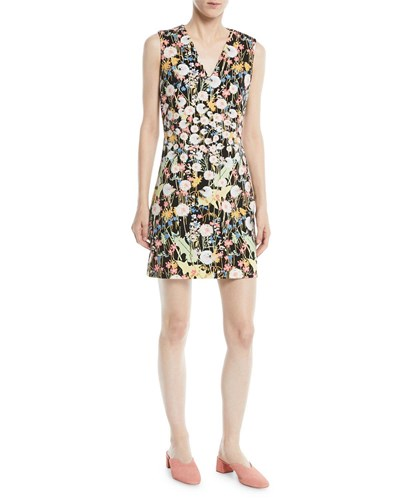 Peter Pilotto V Neck Sleeveless Floral Print Cady Mini Dress Yellow tIwPqT