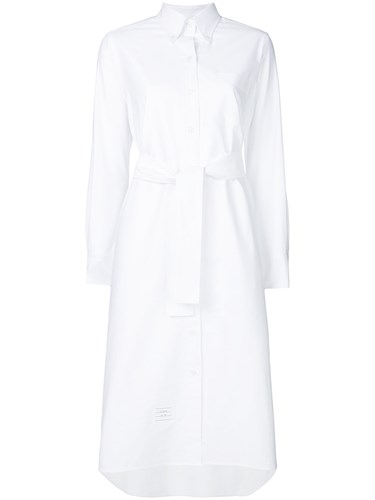 Thom Browne Belted A Line Oxford Shirtdress White tBjLc3