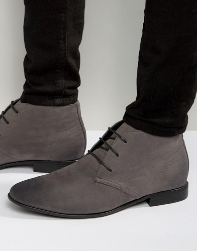 Asos Design Lace Up Boots In Grey Faux Suede qBONOA3