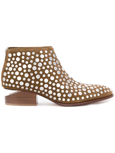 Alexander Wang Kori Studded Ankle Boots Leather Suede Brass Brown 4lQCl