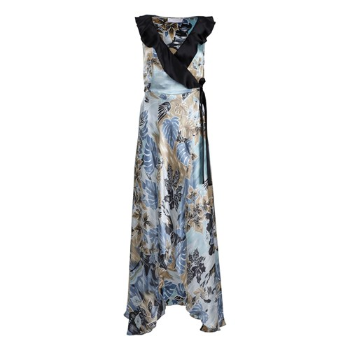 Roses Are Red Doris Silk Dress In Floral Blue Blue Black 49IlfF