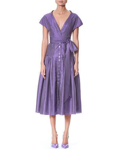 Carolina Herrera Short Sleeve V Neck Button Front Dotted Belted Cocktail Dress Purple White wMC1mOV8Xi