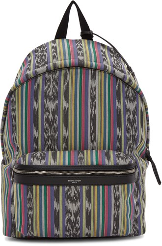 Saint Laurent Multicolor Striped City Backpack S1yYPuW