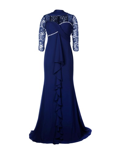 Musani Couture Long Dresses Dark Blue yQnjGX7s