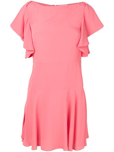 RED Valentino Ruffle Sleeve Dress Pink And Purple rhGk2pt
