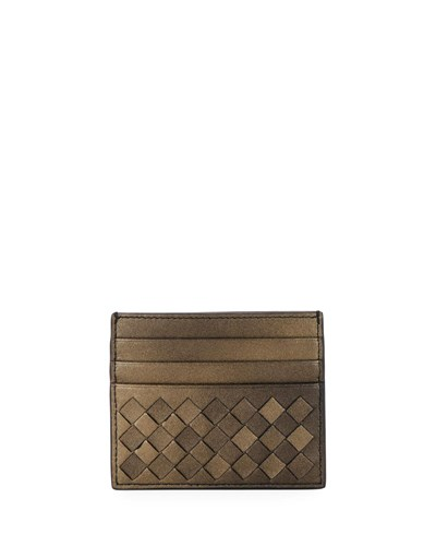 Bottega Veneta Intrecciato Metallic Leather Card Case Gold KKNkEcBQmp