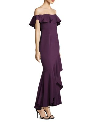 Likely Cabrera Ruffle Off Shoulder Gown Deep Purple WQ5dAVDi