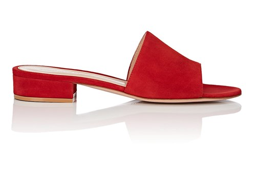 Gianvito Rossi Capri Suede Slide Sandals Bt. Red NZ2AT7jYY
