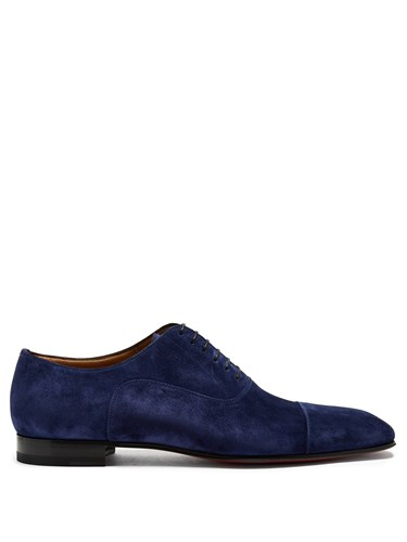 Shoes Christian Blue Suede Derby Louboutin Greggo AA7xvIwP