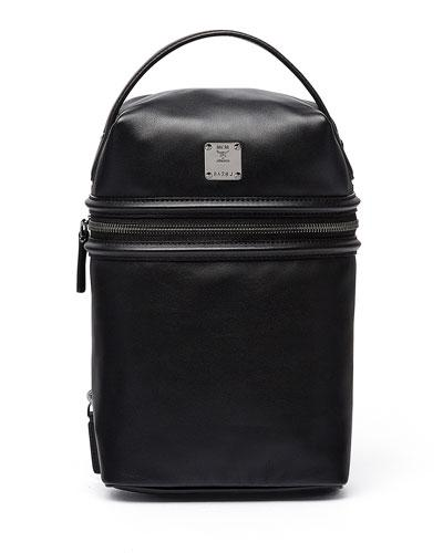 MCM X Cr Collection Leather Top Handle Jet Pack Black dEBOflOU