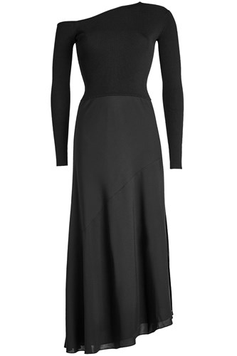 Theory Dress With Asymmetric Sweater And Silk Skirt Black gEzjSWO