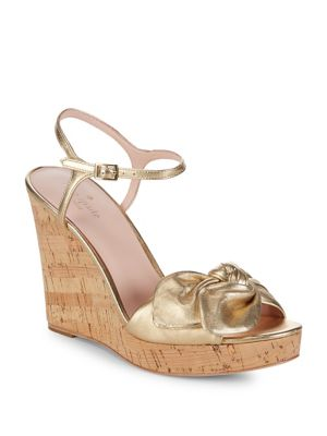 Spade Cork Wedge Janae Gold Leather Kate Sandals AwdZHZ