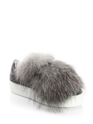 Moncler Fox Fur And Leather Sneakers Grey 7pWXhM