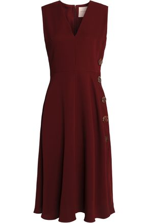 Roksanda Ilincic Button Embellished Silk Crepe Dress Merlot aM9L7NR3