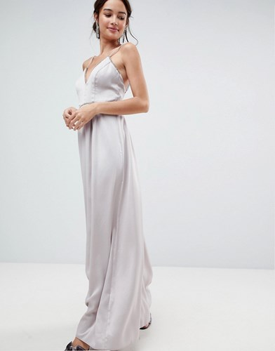 4358a86687 Asos Embellished Trim Deep Plunge Cami Maxi Dress Soft Grey