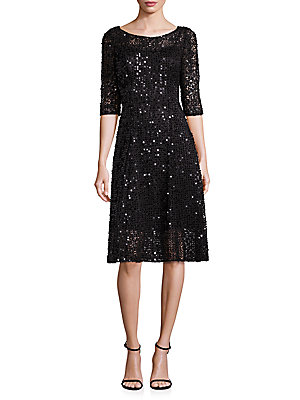 Theia Solid Roundneck Dress Midnight Asr0race7L