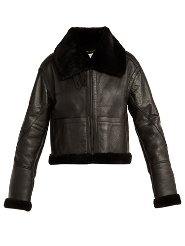 Aviator Leather And Shearling Jacket Black