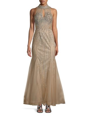 Sean Collections Keyhole Embellished Mermaid Gown Champagne AhdFDWHSXt