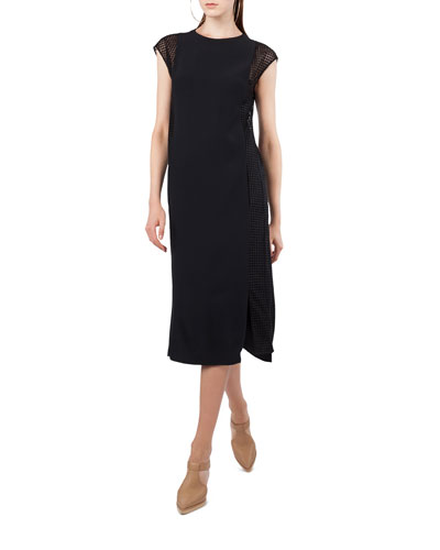 Akris Punto Cap Sleeve Dot Tulle Midi Dress Black p2WK5GrC9a